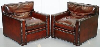 Restored Pair Of Vintage Made In Chelsea Bordeaux Leather Armchair Part Of Suite