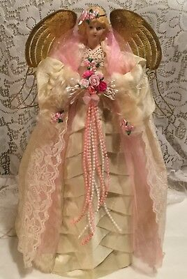 Shabby Cottage Chic Lighted 16 Inch Christmas Angel Tree Topper