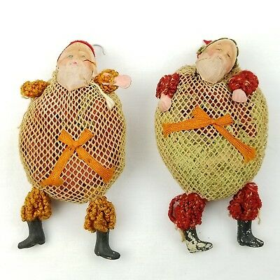 2 Antique Santa Claus Mesh Candy Bag Pouch Christmas Tree Ornament Vtg 1930s Old