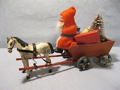 German Santa & Horse drawn cart w/ toys