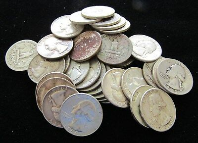 (40 Coins) $10 Face Washington 90% Silver Quarter 1 Roll - Mixed Dates; #7798