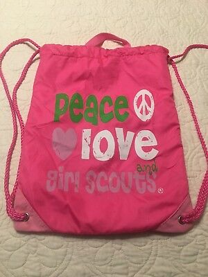 Girl Scouts Drawstring Bag Peace Love And Girl Scouts