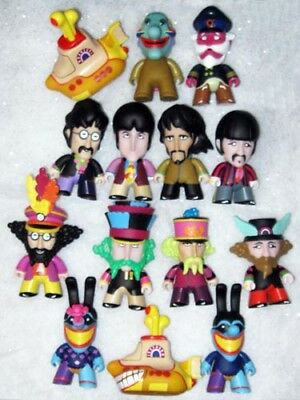 "All 14 Beatles Yellow Submarine 3"" Vinyl Titans Figurines W Display Box Series 1"