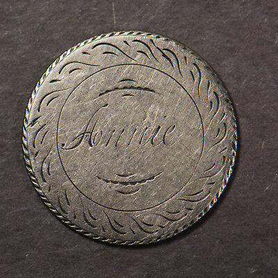 Love Token ANNIE Script on 1853 25C Silver SEATED QUARTER ** INTRICATE! Lot#C624