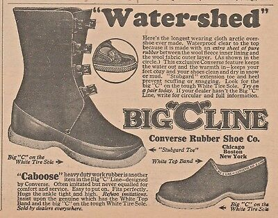 """Vintage 1923 ad~ BIG""""C""""LINE, """" Water-shed """" ~ Converse Rubber Shoe Co."""