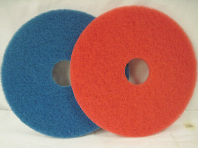 """4 Boxes KROGER Floor Maintenance Pads 16"""" 1-Red Auto Scrub 3-Blue Cleaners USA"""