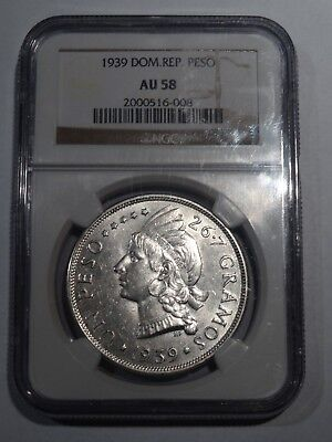 1 Peso Silver Dominican Republic 1939 NGC AU-58 Key Date!