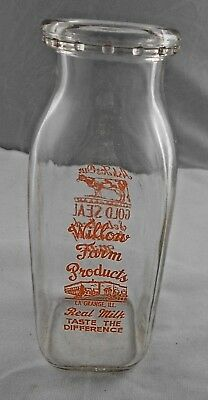 Vtg Willow Farm Products Dairy La Grange ILL Milk Bottle Pyro Pint ACL IL