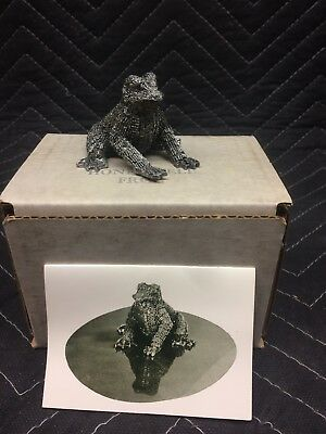 Hudson Pewter Frog Figurine Collectible Honeywell Frog Statue New Old Stock!!!