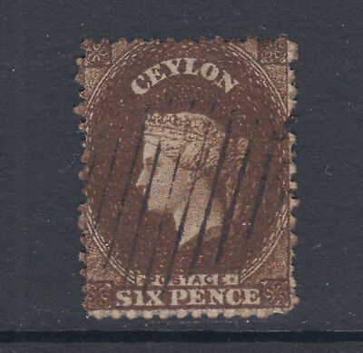 Ceylon SG 41a, Sc 41 used. 1862 6p deep brown QV, Perf 12½, unwatermarked, sound