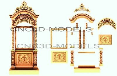 3D Model STL for CNC Router Carving Artcam Aspire Religion Furniture n600