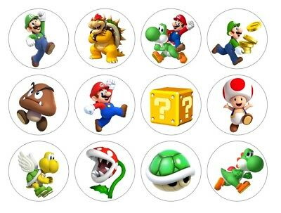 Super Mario Bros Cupcake Toppers Edible Icing 3 sizes PRE-CUT 12 or 24