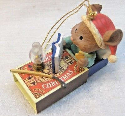 Christmas Ornament Mice/Mouse in his Matchbox Bed LusterFame/Non Enesco NEW