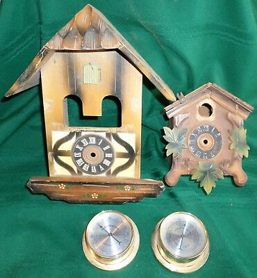 Old Black Forest Cuckoo Clock Cases And Temperature And Humidity Gauges!