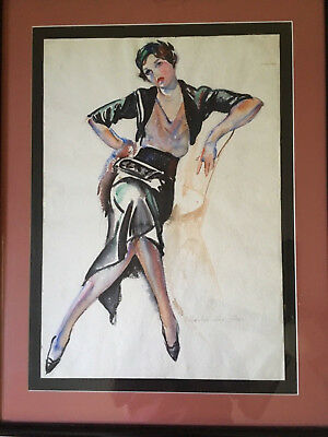 Original Watercolor Charles De Feo Pulp Artist Portrait Framed Signed Rare