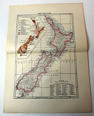 "1890s Antique ORIGINAL 14"" Map New Zealand South Island Pacific Ocean"