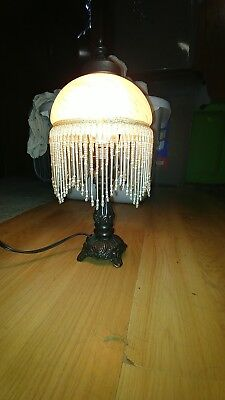 Vintage Art Deco Style Heavy Table Lamp With Frosted Glass With Beaded Shade