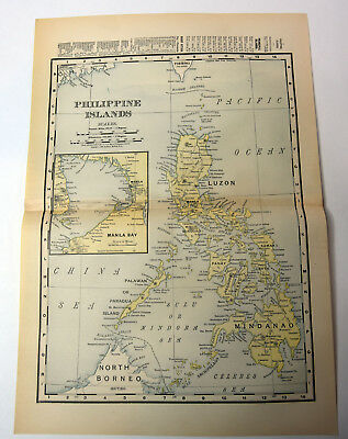 "1890s Antique ORIGINAL 15"" Map Philipine Islands Manila Bay Luzon Mindanao"