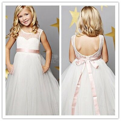 Flower Girl Princess Lace Bridesmaid Wedding Dress Tulle Pageant Party Prom Gown