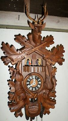 German Bachmeier & Klemmer Large 2 Tune Music Dancers Hunter Deer Cuckoo Clock!