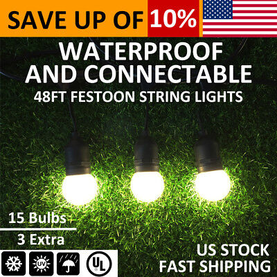 48FT Outdoor String Lights w/ LED Bulb Patio Yard Party Christmas Home DIY Decor
