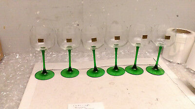 Vintage NIB J G Durand Crystal Green Stem 9 1/4 OZ Wine Hock Glasses Set of 6