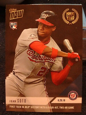 2018 Topps NOW Gold Moment Of The Year Rookie Juan Soto Four-Hit 2-HR ONLY 876!!
