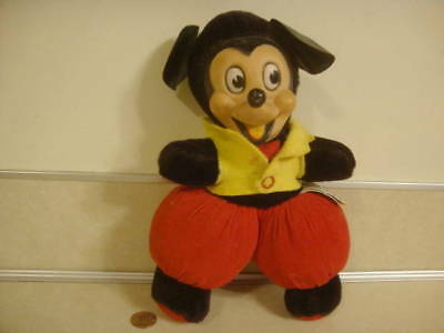 Vintage Walt Disney Production Fat Mickey Mouse Plush Pie Eyed Long Nose Toy!