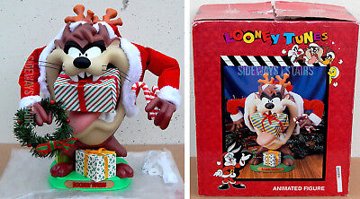 CHRISTMAS TAZ ANIMATED FIGURE Looney Tunes holiday tasmanian devil vintage 1996