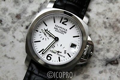 Power Reserve! 40Mm White Dial Automatic Militare Marina Homage Watch Parnis