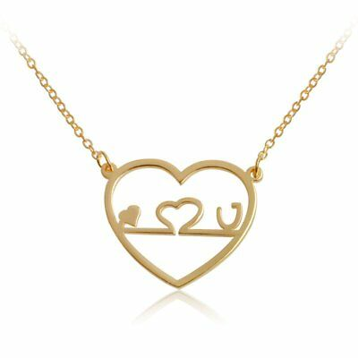 Fashion I love u Heart Hollow Out Long Necklace Pendant Chain Women Jewelry Gift