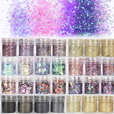 10ml Nail Art Glitter Powder Dust Blue Pink Purple Nails Sequins Flakes Manicure