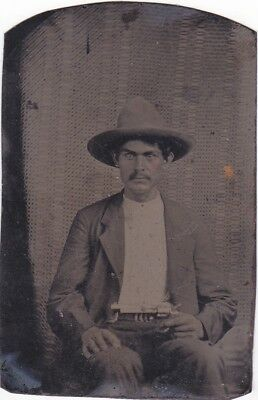 Tintype Photo of Creek Indian Territory Infantry Soldier W/ Revolver Fort Gibson