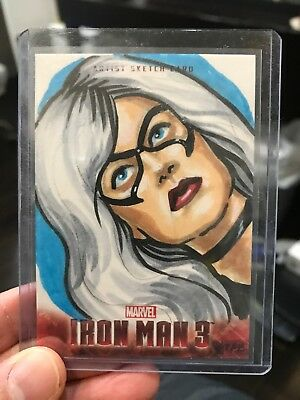 2013 UD Iron Man 3 Artist Color Sketch Card Black Cat By Ashleigh Popplewell 1/1