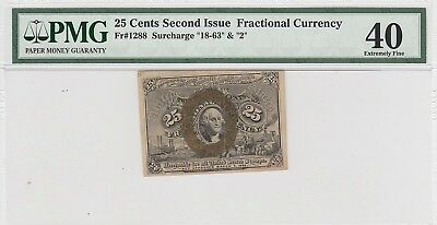 25 Cents Second Issue Fractional Currency Fr#1288 18-63 2 Surcharge (PMG 40 XF)