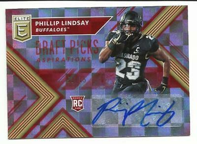 2018 Panini Elite Draft Picks PHILLIP LINDSAY RC AUTO 53/75 DENVER BRONCOS