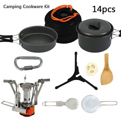 Camping Cookware Mess Kit Backpacking Gear Hiking Outdoors Bug Out Bag Equipment