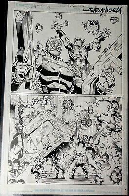 Deadpool & Cable SS #1 Original Art Splash Page by Reilly Brown & Nicieza Movie
