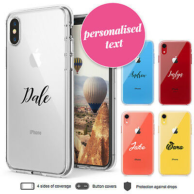 iPhone X XR XS Max Case Personalised Name III Clear Bumper Print Cover for Apple