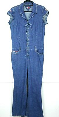 13f912d10168 Tommy Hilfiger Womens Denim Jumpsuit Stretch Jean Vintage 90s Blue Size  Large