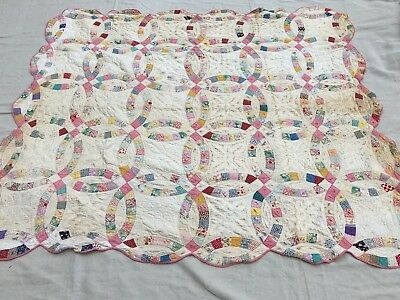 """Antique Late 19th Century Wedding Ring Cutter Quilt for Restoration 76"""" x 66"""""""
