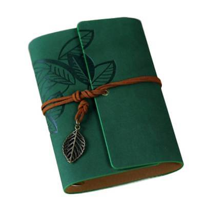 Green Vintage String Leaf Leather Notebook Diary Paper Journal Book Sketchbook
