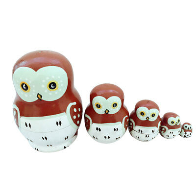 5pcs/ Set Russian Matryoshka Dolls Lovely Owl Nesting Wooden Crafts Doll Gift