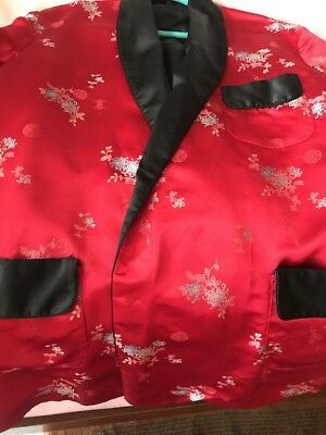 Vintage Asian Satin Kimono Style Jacket Embroidered Size Large 48