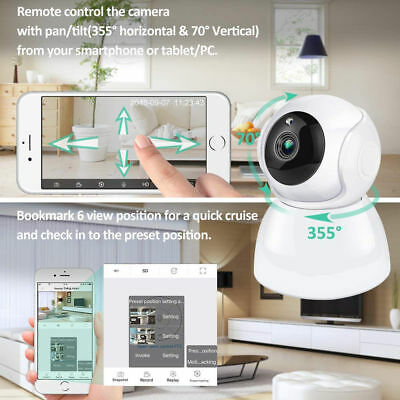 Wifi 1080p Wireless Panoramic Pan Tilt Security IP Network Camera Monitor Webcam