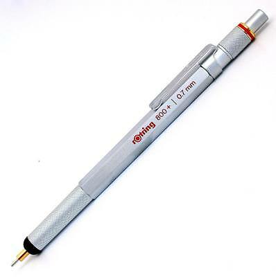 NEW rOtring 800+ 0.7 mm Silver Barrel Mechanical Pencil and Touchscreen Stylus