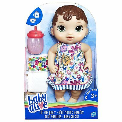 New Hasbro Baby Alive Lil' Sips Baby Brown Hair E0499