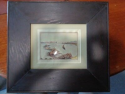 Ink and colored Pencil Drawing: Sunset on the Bay by Gabrielle Arneaud - Framed