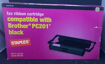 STAPLES Fax machine ribbon cartridge for Brother PC201  481946  NEW  AS IS