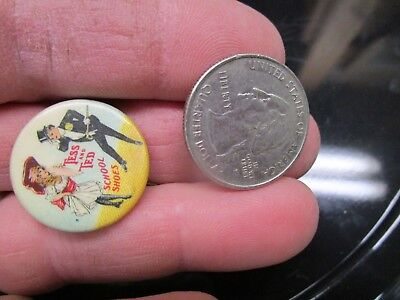 Old Antique Childs 1910 Tess & Ted School Shoes Celluloid Pinback Button Nice